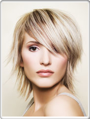 Short Blonde Swept Layers